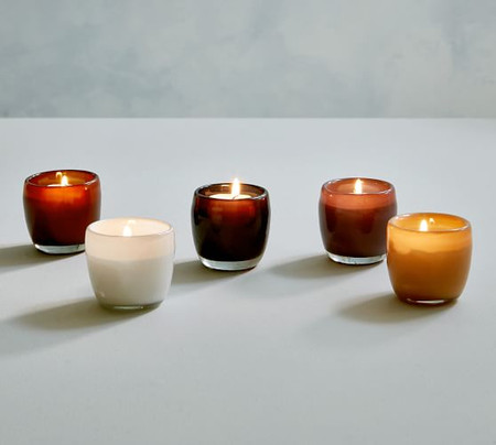 Mineral Glass Multicolour Votive Candle Holders - Set of 5