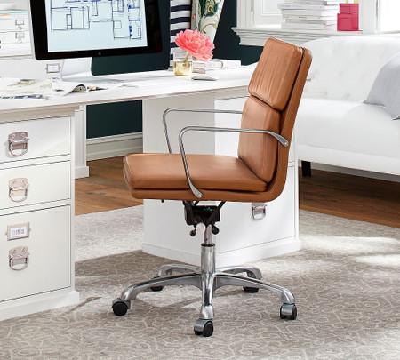 Nash Leather Swivel Desk Chair Pottery Barn Australia