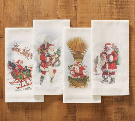 Nostalgic Santa Napkins, Set of 4 - Assorted