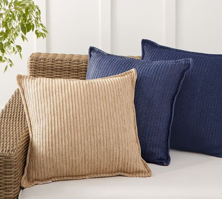 Faux Natural-Fibre Flange Indoor/Outdoor Cushions