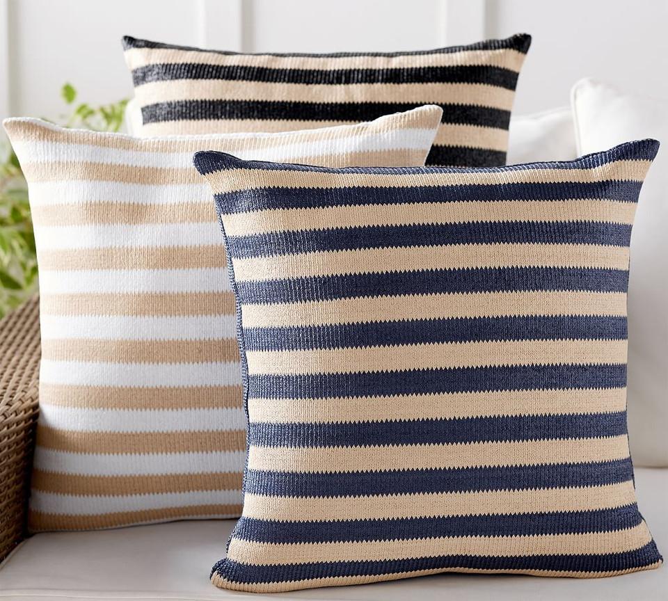 Indoor Amp Outdoor Faux Natural Fibre Stripe Cushion
