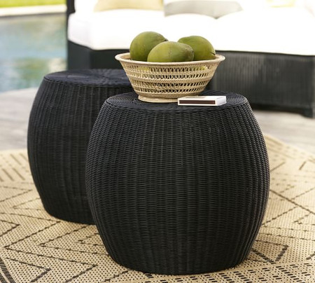 Palmetto All-Weather Wicker Side Table, Black