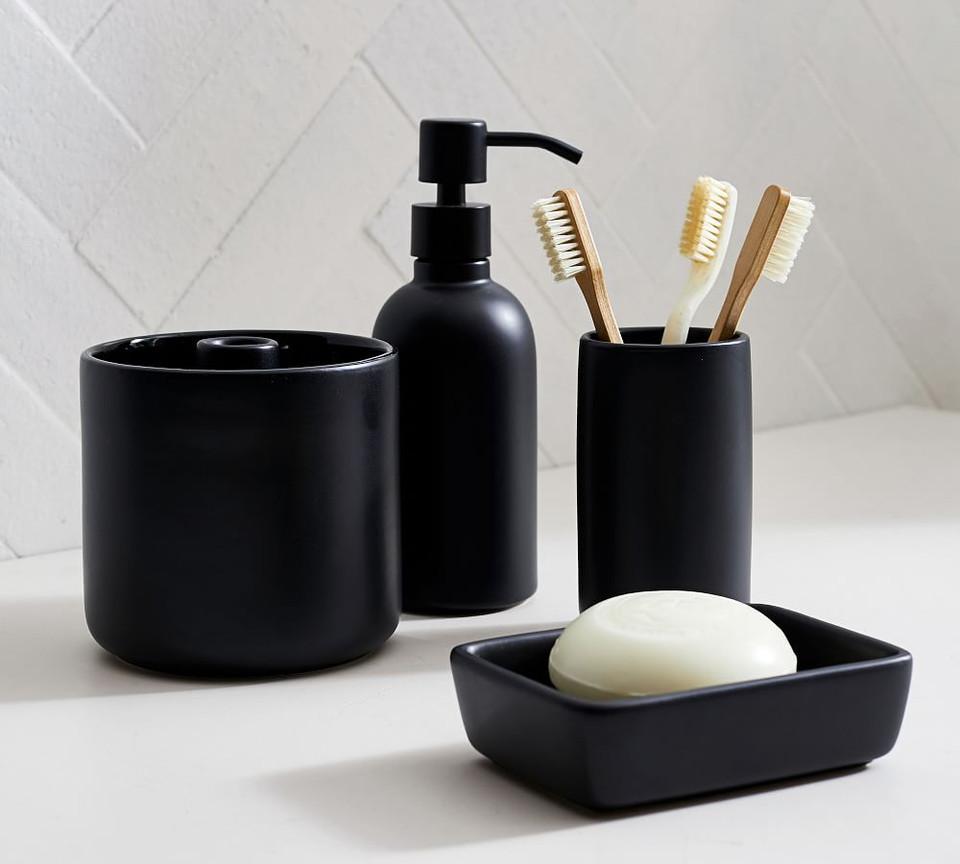 Matte Black Ceramic Bath Accessories