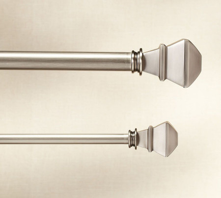 PB Standard Square Finial & Curtain Rod - Pewter finish