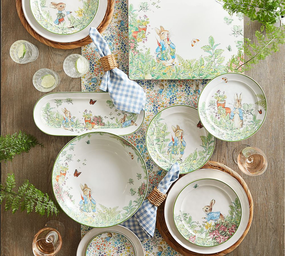 Peter Rabbit Floral Appetiser Plates Set Of 4 Pottery