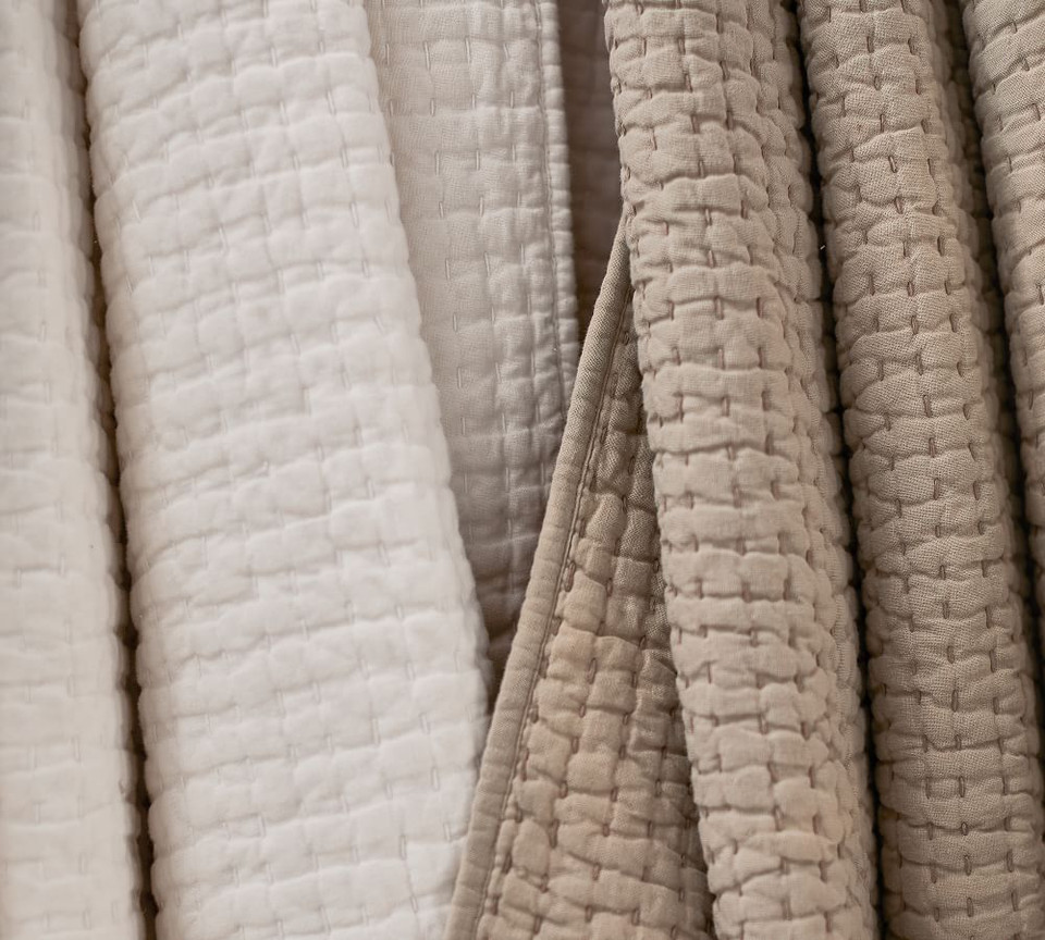Pick-Stitch Handcrafted Cotton Linen Blend Coverlet & Pillowcases