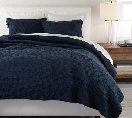 Pick-Stitch Handcrafted Cotton Linen Blend Coverlet & Pillowcases - Midnight Blue