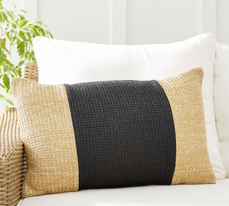 Faux Natural-Fibre Pieced Indoor/Outdoor Lumbar Cushion