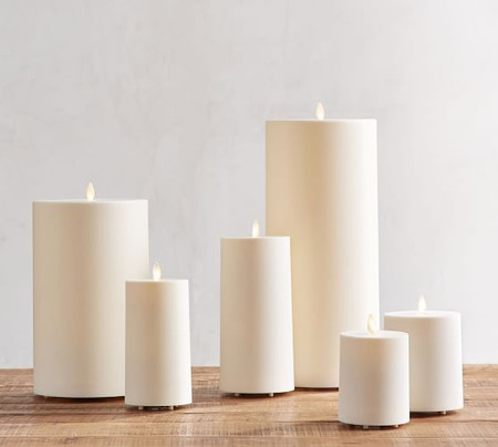 Premium Flickering Flameless Outdoor Pillar Candle, Ivory