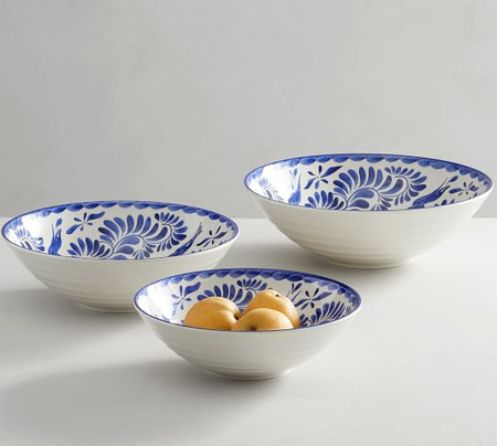 Puebla Melamine Serving Bowls, Set of 3