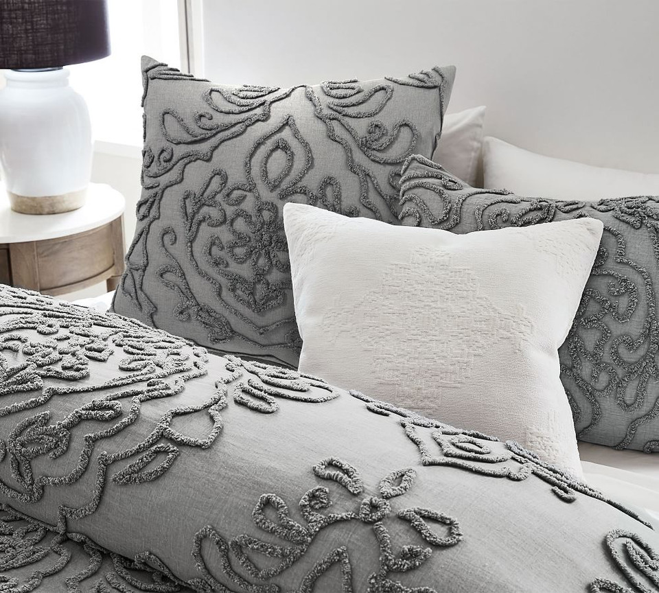 Renee Candlewick Sateen Quilt Cover & Pillowcases - Grey