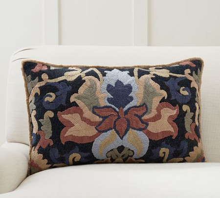 Rory Embroidered Lumbar Cushion Cover