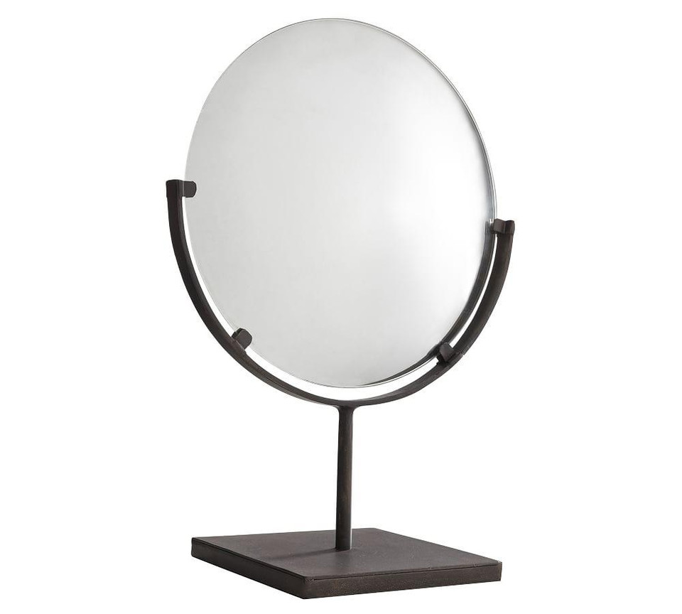 Round Bronze Mirror On Stand