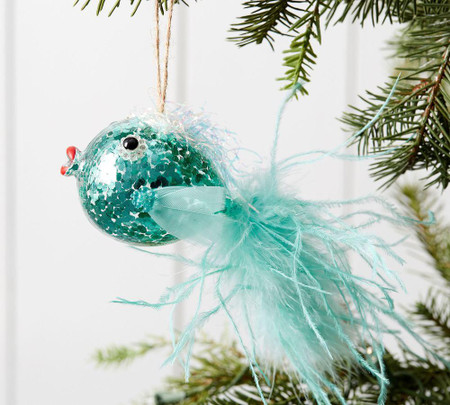 Sequin Feather Blowfish Ornament