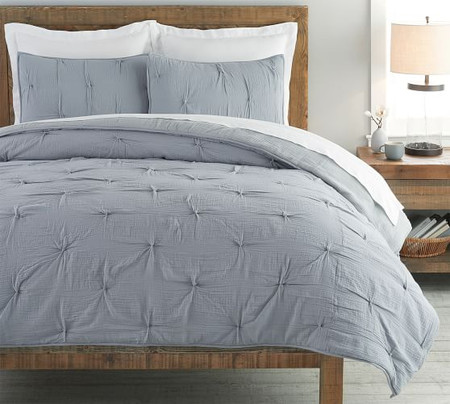 Soft Cotton Handcrafted Coverlet & Pillowcases - Blue