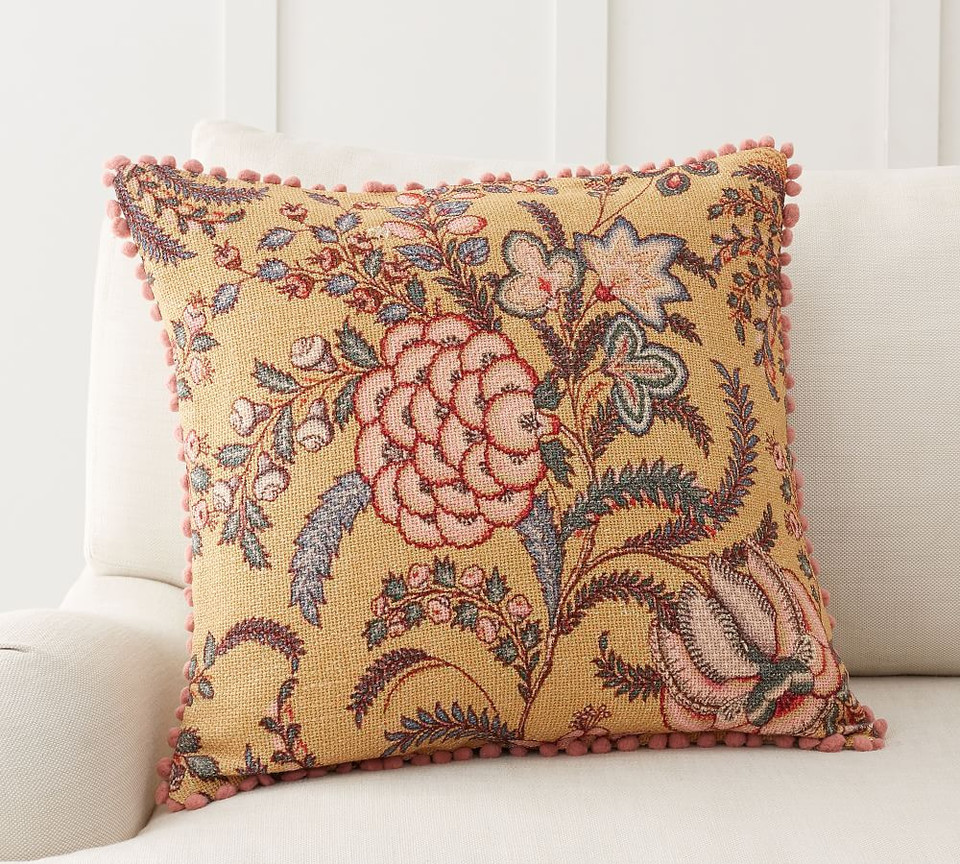 Sorrel Floral Embroidered Cushion Cover Pottery Barn