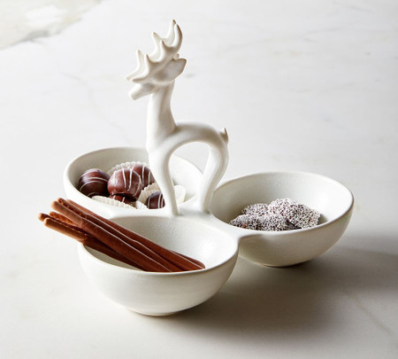 Stag Stoneware Triple Condiment Server