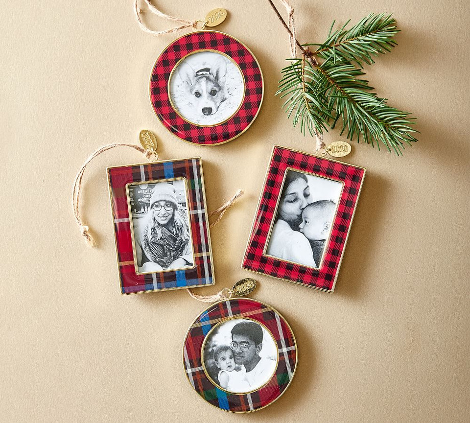 2020 Dated Enamel Frame Ornament - Tartan Plaid