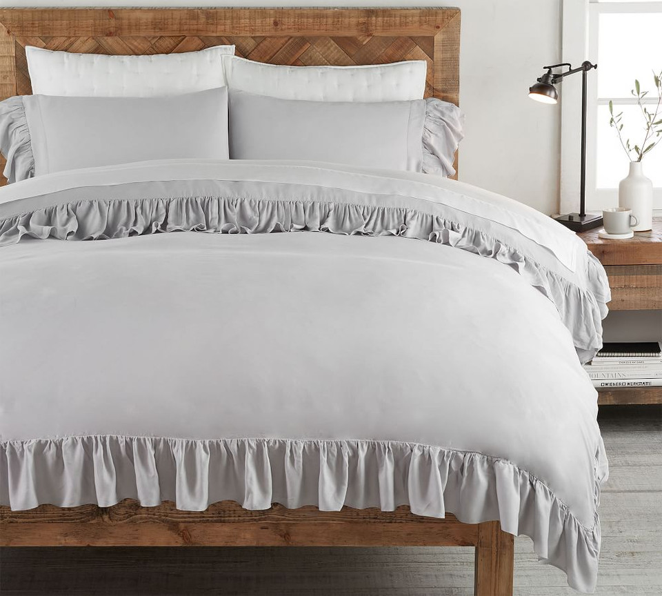Tencel 174 Ruffle Quilt Cover Amp Pillowcase Grey Pottery
