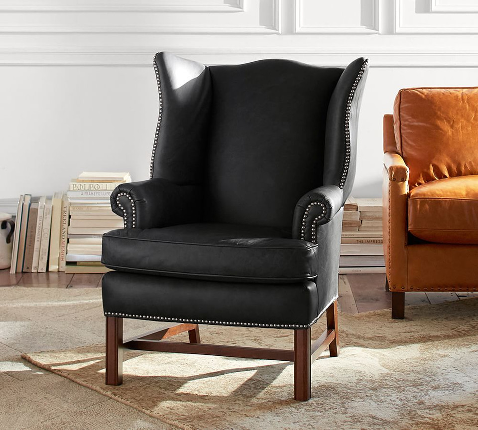 Thatcher Leather Wingback Chair - Black | Pottery Barn ...