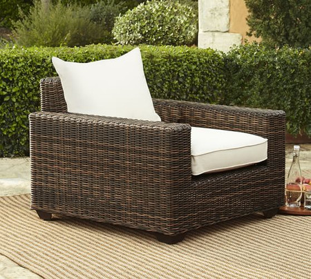 Torrey All-Weather Wicker Square Arm Lounge Chair, Espresso