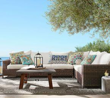Torrey All-Weather Wicker Square Arm Sectional Set
