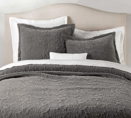 Velvet Floral Coverlet & Pillowcases - Flagstone