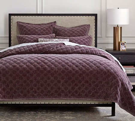 Velvet Lattice Quilt & Pillowcases - Fig