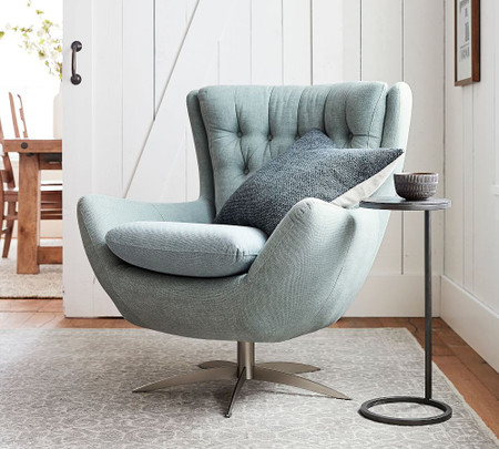 Wells Upholstered Swivel Armchair - Washed Teal