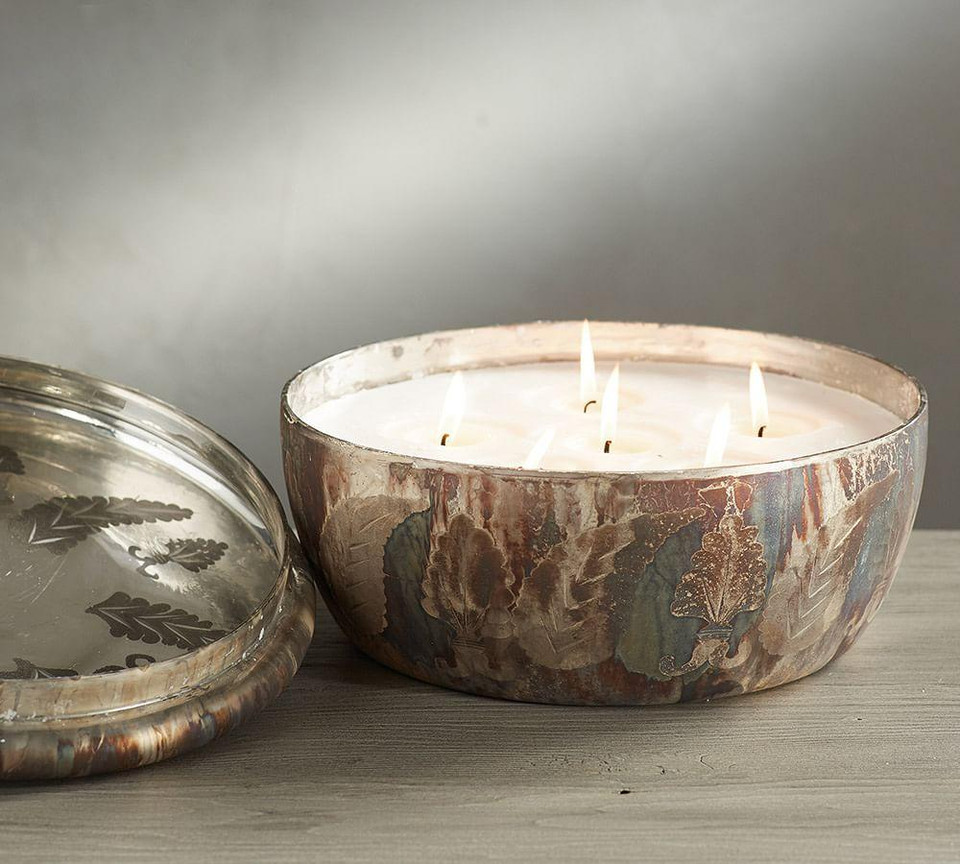 Oxidised Mercury Lidded Candle Pot, White Cranberry & Thyme
