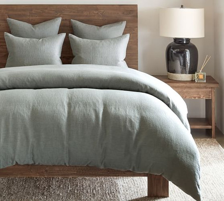 Willow Linen Cotton Twill Quilt Cover & Pillowcases - Blue