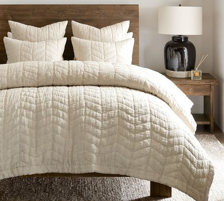 Willow Linen Cotton Twill Reversible Coverlet & Pillowcases - Flax