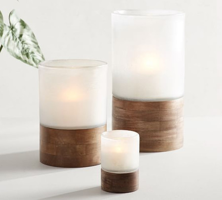 Wood and Frosted Glass Candle Holders