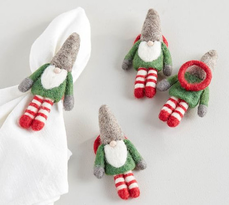 Handmade Gnome Wool Felt Napkin Rings - Set of 4